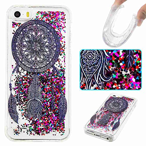 Pheant® Apple iPhone SE/5S/5 Coque Gel Étui Brillante Housse Cas Transparent Etui de Protection en TPU Silicone Liquide Bling Gratuit Paillettes Sables Mouvants Couleur-01
