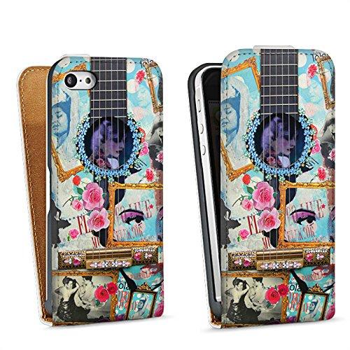 Apple iPhone 4 Housse Étui Silicone Coque Protection Guitare Art Flamenco Sac Downflip blanc