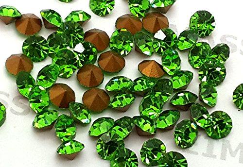 Eimass® folienbeschichtete, geschnittene Diamant-Kristallchatons, Glas-Kristalle, Glas-Strass, 100Stück, - Peridot Lime Green - Größe: 2.8 mm (Lime Gläser Green)