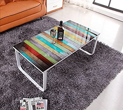 OSPI Print Tempered Glass Top Loft Coffee Table/low Table / Side Table with Power Coated Steel Leg L105cm x W55cm x H43cm - cheap UK light shop.
