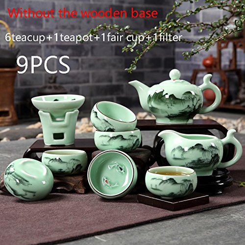 CUPWENH Chinesischen Stil Handbemalt Vintage Muster Celadon Teeutensilien Set Tassen Filter Messe Cup Teapot Für Zu Hause Tee Zeremonie Hochzeit Geschenk