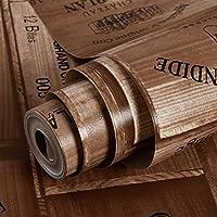 QBTZ Rústico Faux Woodgrain Logo Vintage Wine Chateau Wallpaper Restaurante Bar Fondo de Pantalla,Marrón,5.3 Metros Cuadrados por Rollo
