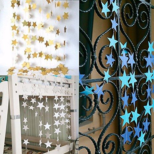 Lee Joe 1 Stück Papiergirlande Hängende Flagge Pentagramm Banner Dekoration Flagge für Hochzeits Geburtstag,Gold