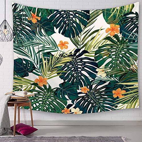 Morbuy Kreativ Tapisserie Kaktus, Grünes Blatt Dekor Wandteppich Tapestry Wandbehang aus Polyster Wandtuch Tischdecke Meditation Strandtuch Yogamatte (Klein (130 x 150cm), Orange Blume) (Orange-blumen-tischdecke)