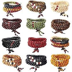YADOCA 12 Pcs 108 Bracelet Perles en Bois de Santal Naturel Collier/Bracelet Chaîne Chapelet Perles Tibétain Bouddhiste Bouddha Mala Élastique Pierres Bracelet Homme Femme