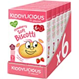 Kiddylicious Strawberry Biscotti | Yummy Baked Snacks for Kids | Suitable for 7+ Months | 6 Packs of 6 (36 Total)
