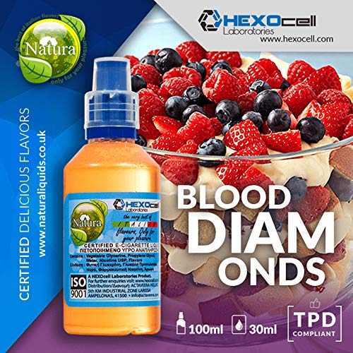 DAMPF SHOP - 30ml Shake and Vape E Liquid ohne Nikotin - Blood Diamonds (Gemischte Beeren und Vanille) - E Zigarette Liquid