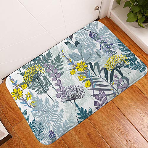 WJ Bodenmatte für Badezimmer, Blumen-Design, saugfähig, für Wohnzimmer, Multicolor 7, 45 * 75cm