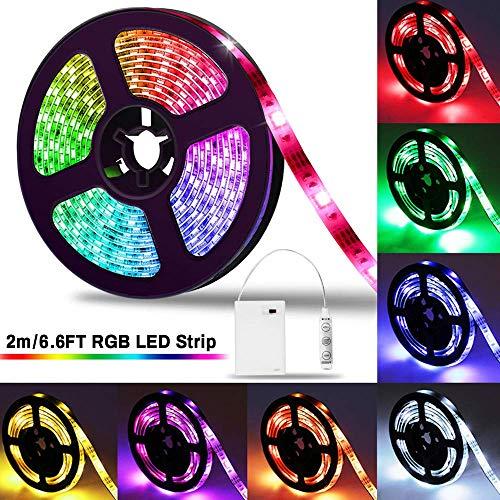 LED Strip 2m, SOLMORE LED Streifen Stripe Licht Batterie 2M 5050 RGB bunt Lichtleiste Band Beleuchtung Farbwechsel LED Lichtband dimmbar wasserdicht IP65 für Party Geburtstag Bar Küche - 2 Speed Schreibtisch
