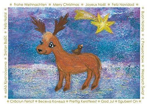 Weihnachtskarte Rentier (verschiedene Sprachen)
