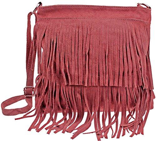 Vintage Fransentasche Pocahontas in diversen Farben | Echtes Wildleder made in Italy | Crossbody Umhängetasche Dunkelrot