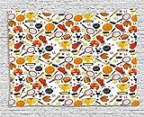 qinghexianpan Sport Wandteppich, Abstrakt Cartoon Stil Sporting Goods Tennisschläger Ball Bowling Star gefüllt Muster zum Aufhängen, für Schlafzimmer Wohnzimmer Wohnheim, 60W x 40L Zoll, multicolor 80