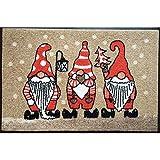 AS4HOME Wash+Dry Waschbare Fußmatte Weihnachtszwerge beige Weihnachten 50x75 cm - Fußabstreifer mit Teppichflor - Wichtel Schmutzmatte
