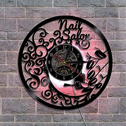 hysxm 1 Piece Nail Salon Wanduhr Dekor Mit Led Blacklight Farbwechsel Moderne Innendekoration Machen Von Vinyl Lp Record, Mit Led