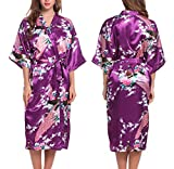 ADORNEVE Women's Satin Kimono Bridesmaid Silky Robes