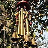 Carillón de viento, le deseamos prosperidad: Chinese Traditional Amazing 4 Tubos 5 Campanas y base de madera Windchime de bronce para patio al aire libre, jardín y decoración del hogar