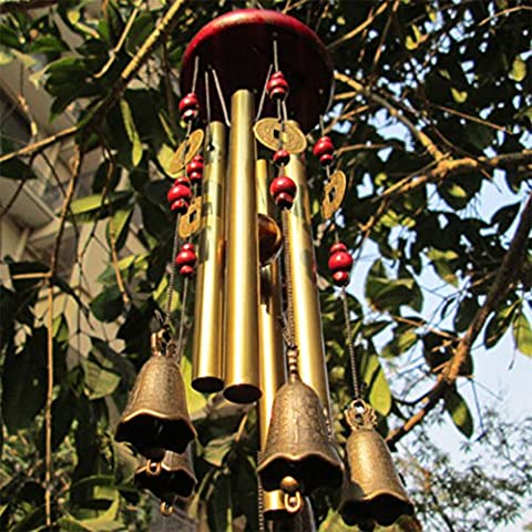 Wind chime, Wish you prosperity:Chinese Traditional Amazing 4 Tubes 5 Bells and wooden base Bronze Windchime for Outdoor Patio, Garden and Home Décor