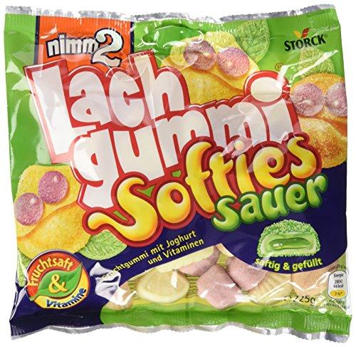 nimm2 Lachgummi Softies sauer – Weiche,gefüllte Fruchtgummis mit Vitaminen – 15er Pack (15 x 225g Beutel)