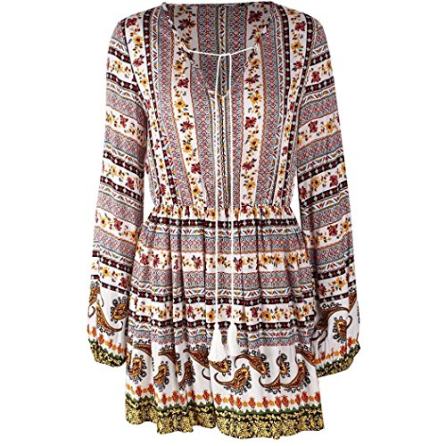 Damen V-Neck Print Drawstring Long-Sleeve Corset Floral Dress