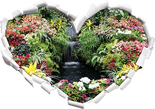 colorato a forma di cuore Blumenoase nel formato adesivo aspetto, parete o una porta 3D: (Fiore Fontana Parete)