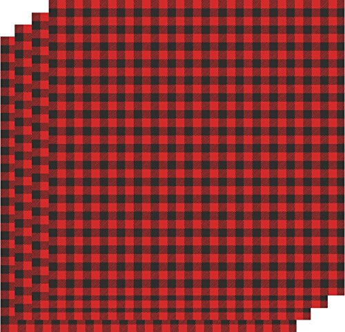 bedruckt Vinyl Blatt, selbstklebend rot & schwarz kariert, 4-30,5x 30,5cm Tabelle Bundle ()