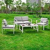 SoBuy® Conjunto muebles de Jardín, Muebles de jardin, conjunto sofa de exterior, 4 plazas, OGT06, ES