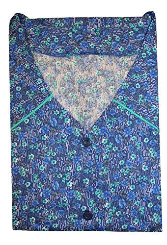 Tobeni Damen Kittelschürze Knopf-Kittel in 100 Baumwolle ohne Arm mit Taschen Farbe Design 40 Grösse (40 Die Kostüme Hausfrau)