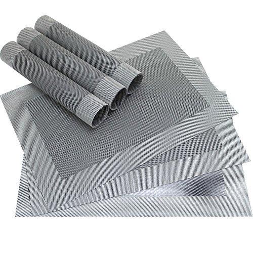 matches21 Edle Tischsets Platzsets BORDA Platzmatten 6er Set silber schwarz gewebt aus Kunststoff 45x30 cm Platzdeckchen...