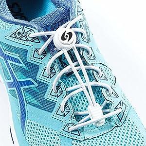 Schnürsenkel mit Schnellverschluss | High Performance-Schnellschnürsystem mit einem Paar elastischer Schnürsenkel | Optimal für Kinder und Erwachsene, egal ob für den Triathlon oder die Sandkiste! (Weiße-1)