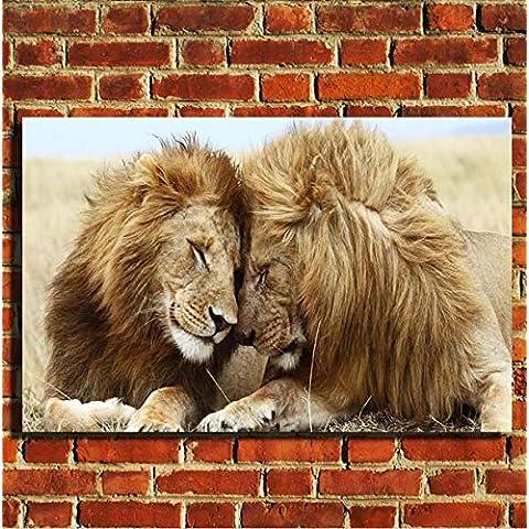 Leoni Animali Selvatici Stampa Su Tela da parete con cornice portafoto poster Small Medium Large, 20