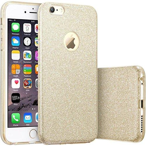 FINOO | Iphone SE Rundum 3 in 1 Glitzer Bling Bling Handy-Hülle | Silikon Schutz-hülle + Glitzer + PP Hülle | Weicher TPU Bumper Case Cover | Gold