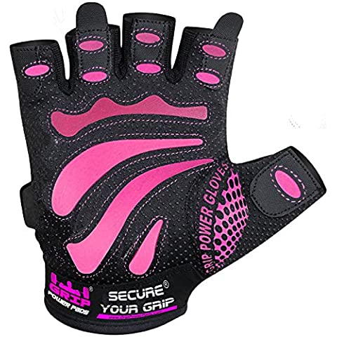 MiMi Guante de gimnasio para mujer, protege sus manos y mejora su sujeción, color rosa y negro, para levantamiento de pesas, ligeros, color rosa, tamaño