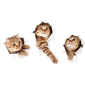 Zrse 3d Removable Large Cat Stickers Cartoon Funny Cat Pet Animal