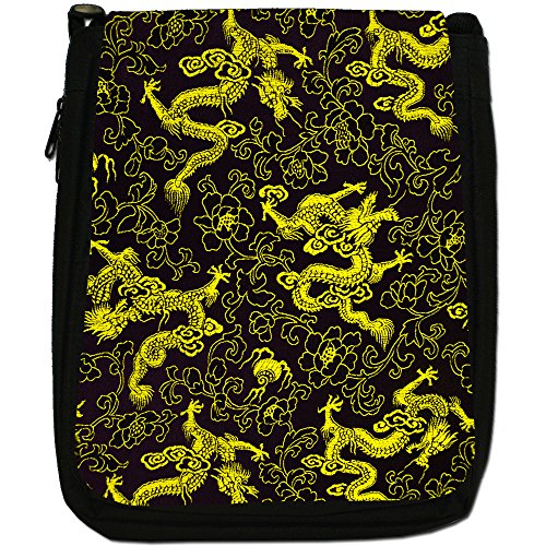 Drago Cinese medio nero borsa in tela, taglia M Yellow Chinese Dragons