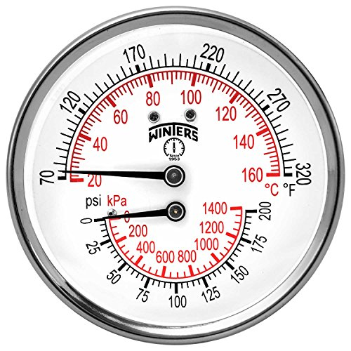 Winters TTD Series Steel Dual Scale Tridicator Thermometer with 2 Stem, 0-200psi/kpa, 3 Dial Display, 3-2-3% Accuracy, 1/2 NPT Back Mount, 70-320 Deg F/C by Winters (Npt Back Mount)