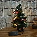 Prevently Tannenbaum Christbaum Künstlicher Weihnachtsbaum, Weihnachtsbaum klein mit Beleuchtung Multicolor LED und Weihnachtsschmuck (Red)