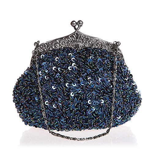 HT - Pochette da sera, da donna, con frange e paillettes, per cocktail party, serata e matrimonio, stile antico Blue