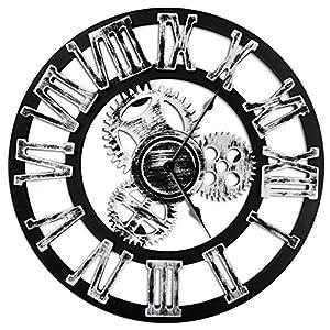 Top Race Reloj de pared redondo de 16 pulgadas, diseño de engranajes antiguos de madera hechos a mano de época en 3D, por Chevy K. (plata con números romanos)