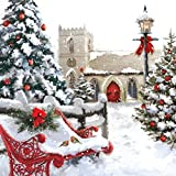 """Musikalische Weihnachtskarte. Landschaft mit Kirche. Grußkarte, beim Öffnen ertönt 15-20 Sekunden lang das Lied """"I Saw Three Ships (Coming Sailing In)"""""""
