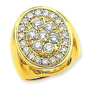 14ct Gold Diamond mens ring - Size T 1/2