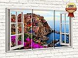 Bild auf einer Leinwand ähnlich einem Fenster auf einem Panorama von 70 x 120 cm (dim.pannelli cm.40x70 - 40x70 - 40x70) - Moderne Gemälde Wohnzimmer xxl - Schlafzimmer - Modernes Wohnzimmer - Küche - Zusammenfassung - Meer - Landschaften - Sonnenuntergänge - Blumen - Blumen - Presse für Restaurants - Hotels - Büros - Wohnzimmer - kleiner Raum - Panels von Holzmöbel mit einem modernen und kompletten Design für jede Umgebung. VERNAZZA ITALIA