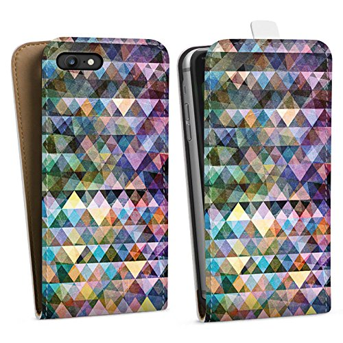 Apple iPhone X Silikon Hülle Case Schutzhülle Muster Farben Dreiecke Downflip Tasche weiß