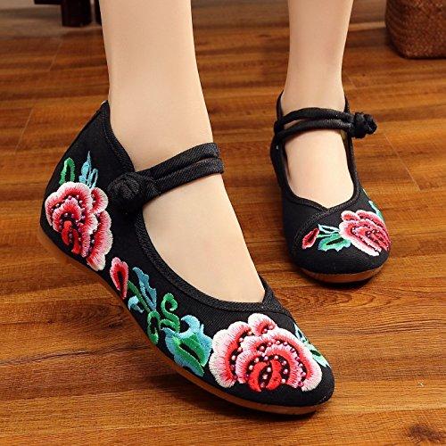 THk&M Frauen bestickte Schuhe Herbst Retro Keil mit Tuch schuhe Braut verheiratet Wort Schnalle, 38, Schwarz (Black Womens Casual Mules)