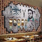 Fond D'Écran 3D Barbershoppeinture Murale De Fond De Salon De Coiffure, Vintage Barbershop, 400X200 Cm (157.5 X 78.8 In)