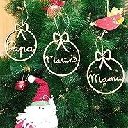 Adorno navidad árbol bola de madera personalizadas con cordel para colgar, Ornamento Decoraciones colgantes de