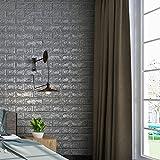 KINLO 50 Stücke Ziegelstein 70x77x1cm grau Verdickt selbstlebend Wandhintergrund Aufkleber 3D modern Wasserdicht Tapete aus hochwertigem PE für Zimmer 2 Jahren Garantie