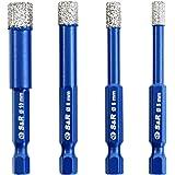 S&R Diamantboor, tegelboor, glasboorset 4 stuks 5, 6, 8, 10 mm, zeskantige schacht, voor keramiek, graniet, glas, porselein,