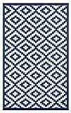 Green Decore Outdoor-Teppich Nirvana&quot, wendbar, leicht, Kunststoff, 120x 180cm, Marineblau/Weiß
