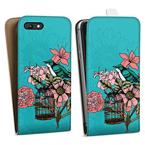 Apple iPhone X Silikon Hülle Case Schutzhülle Vogel Blumen Käfig Downflip Tasche weiß