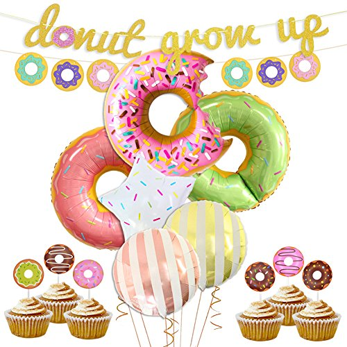 LUCK COLLECTION Donut Party Supplies & Decorations Ciambella Crescere Banner Mylar Balloons Cupcake Toppers per Ciambella Birthday Party Decorations